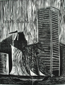 ©2005 Cara Kelly, four plate linocut, Loyola University Maryland